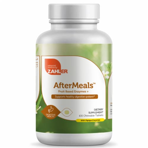 Zahler AfterMeals Fruit Based Enzymes Dietary Supplement Chewable Tablets Perspective: front