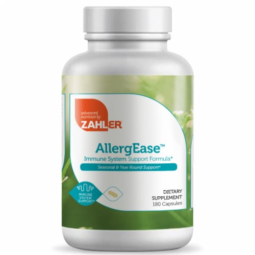 Zahler AllergEase Immune System Support Formula Dietary Supplement Capsules Perspective: front