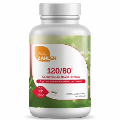 Zahler 120/80 Cardiovascular Health Formula Dietary Supplement Capsules Perspective: front