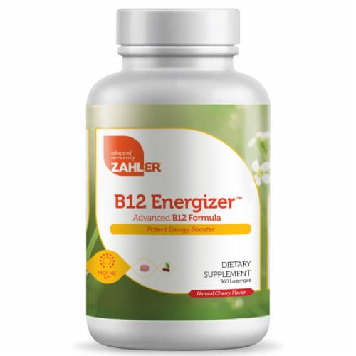 Zahler B12 Energizer Natural Cherry Flavor Dietary Supplement Lozenges Perspective: front