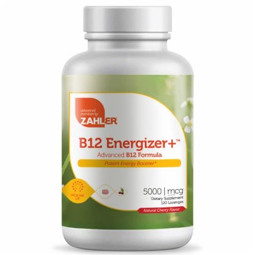 Zahler B12 Energizer Plus Natural Cherry Flavor Dietary Supplement Lozenges 5000 mcg Perspective: front