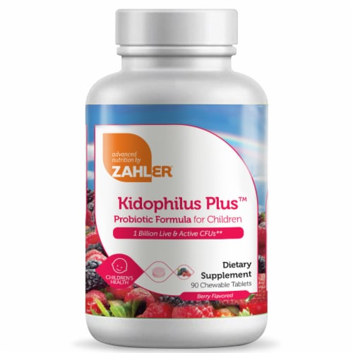 Zahler Kidophilus Plus Childrens Probiotic Berry Flavored Chewable Tablets 90 Count Perspective: front
