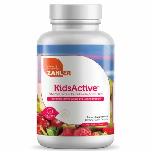 Zahler KidsActive Fruit Punch Flavor Dietary Supplement Chewable Tablets Perspective: front