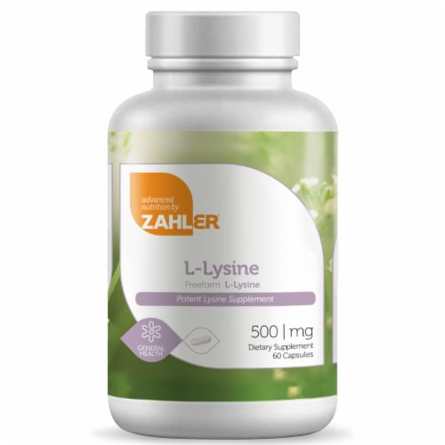 Zahler L-Lysine Dietary Supplement Capsules 500mg Perspective: front