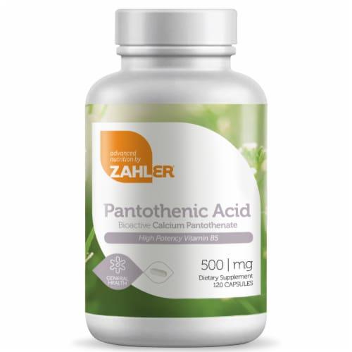 Zahler Kosher Pantothenenic Acid Capsules Perspective: front