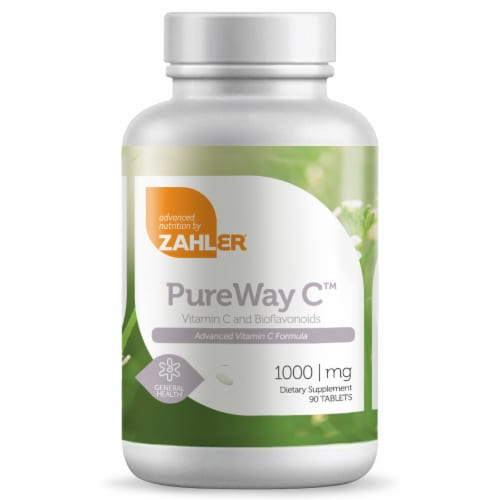 Zahler PureWay C Vitamin C and Bioflavonoids Dietary Supplement Tablets 1000mg Perspective: front
