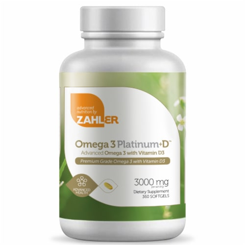 Zahler Omega 3 Platinum+D Dietary Supplement Softgels 3000mg Perspective: front