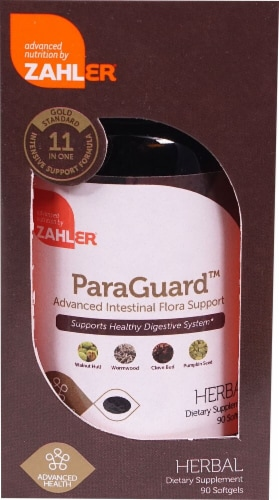 Zahler ParaGuard™ Advanced Intestinal Flora Support Herbal Dietary Supplement Softgels Perspective: front