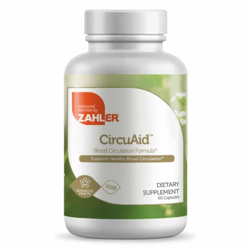 Zahler CircuAid Blood Circulation Formula Dietary Supplement Capsules Perspective: front