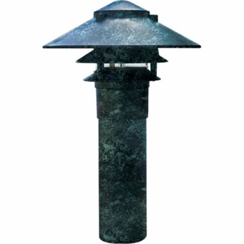 Dabmar Lighting LV104-VG Cast Aluminum Three Tier Pagoda Light with 3 In. Base, Verde Green Perspective: front