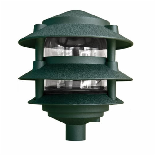 Dabmar Lighting D5000-G Cast Aluminum Three Tier Pagoda Light, Green Perspective: front
