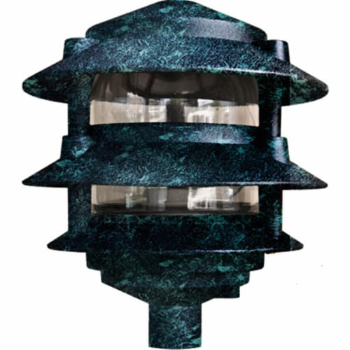 Dabmar Lighting D5000-VG Cast Aluminum Three Tier Pagoda Light, Verde Green Perspective: front