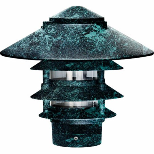 Dabmar Lighting D5400-VG Cast Aluminum Four Tier Pagoda Light with 3 In. Base, Verde Green Perspective: front