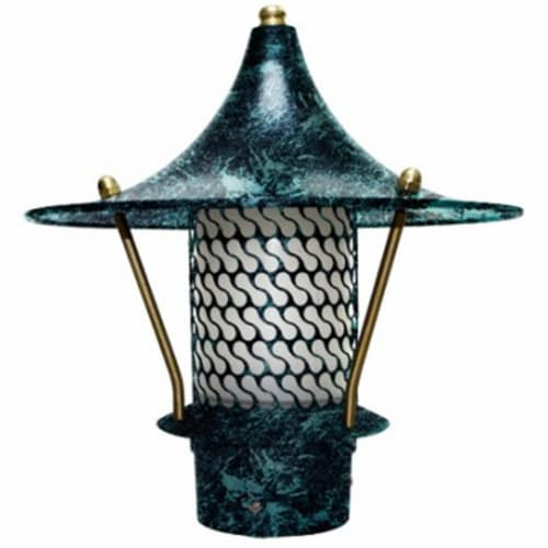 Dabmar Lighting LV-LED106B-VG 2.5W & 12V JC-LED Flair Top Pagoda with 3 in. NPT Base - Verde Perspective: front