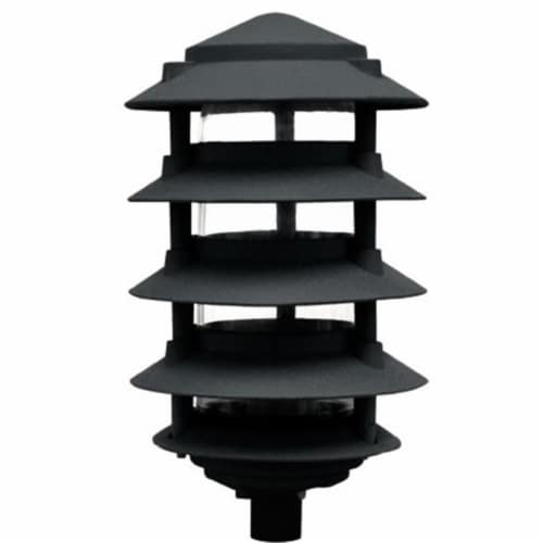 Dabmar Lighting D5550-B 40W 120V Cast Aluminum Five Tier Pagoda Light with 0.50 in. Base, Bla Perspective: front