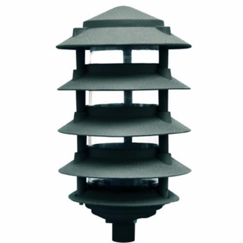 Dabmar Lighting D5550-G 40W 120V Cast Aluminum Five Tier Pagoda Light with 0.50 in. Base, Gre Perspective: front