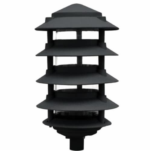 Dabmar Lighting D5566-B 40W 120V Cast Aluminum Five Tier Pagoda Light with 3.00 in. Base, Bla Perspective: front