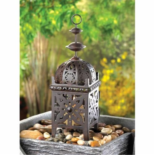 Zingz & Thingz 57071226 Metal Morrocan Style Candle Lantern Perspective: front