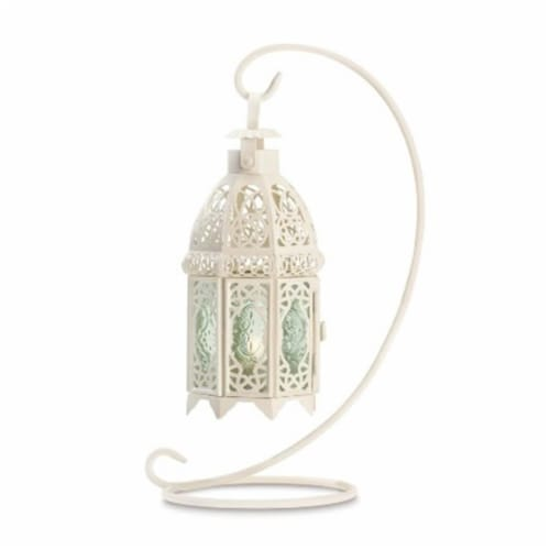 Zingz & Thingz 57070941 White Fancy Candle Lantern with stand Perspective: front