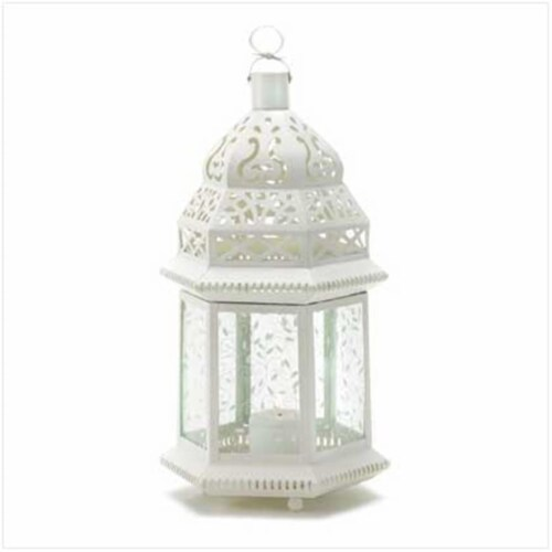 Zingz & Thingz 57070948 Large White Moroccan Candle Lantern Perspective: front