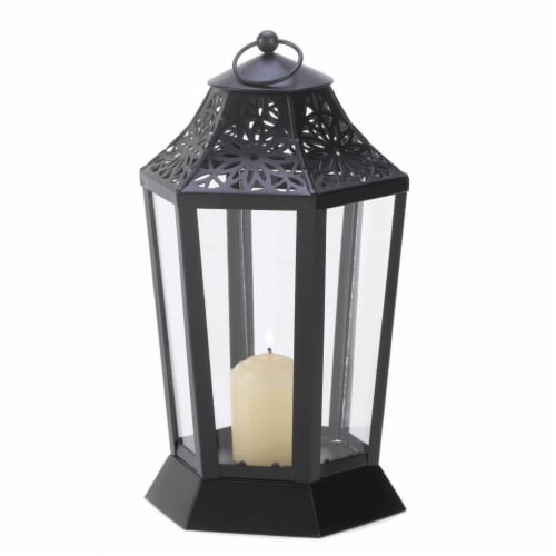 MIDNIGHT GARDEN CANDLE LANTERN Perspective: front