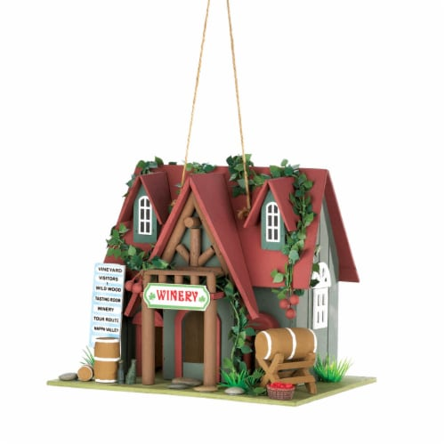 Zingz & Thingz Winery Red Roof Wood Cottage Birdhouse Perspective: front