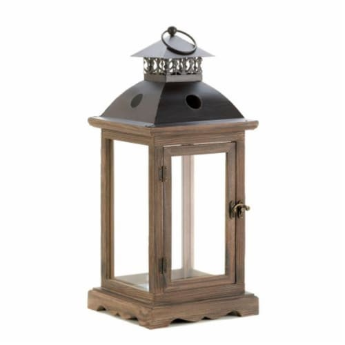 Home Locomotion  Large Rustic Wood Lantern Perspective: front