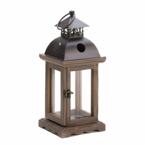 Home Locomotion  Rustic Wood Lantern Perspective: front