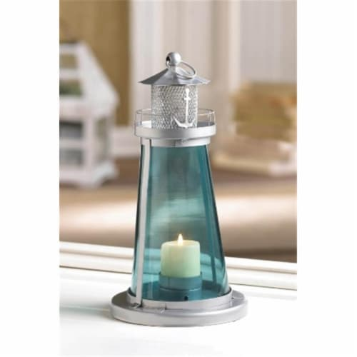 Tinted Glass Lighthouse Candle Lantern Perspective: front