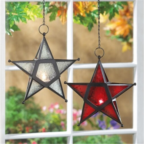 Zingz & Thingz 12288 Red Star Candle Lantern Perspective: front