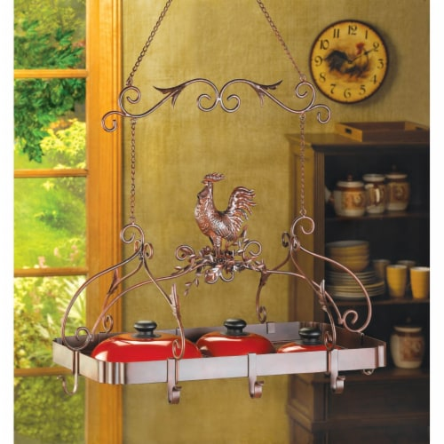 Country Rooster Kitchen Pot Rack Perspective: front