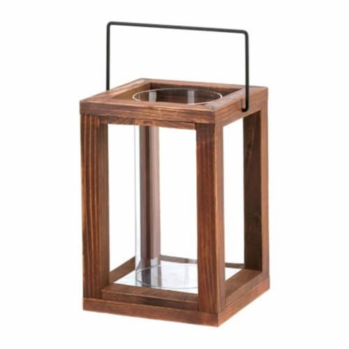 Home Locomotion  Wood Frame Hurricane Lantern Perspective: front