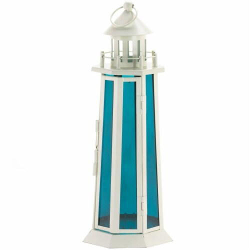 Lighthouse Candle Lantern with Ocean Blue Glass Perspective: front