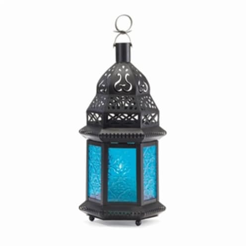 Home Decor Glass Candle Lantern, Blue Perspective: front