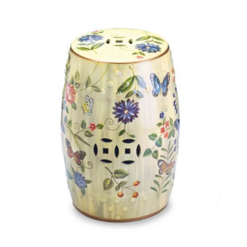 BUTTERFLY GARDEN CERAMIC STOOL Perspective: front