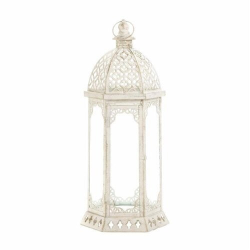 Home Locomotion 849179027056 Graceful Distressed Lantern, White - Large Perspective: front