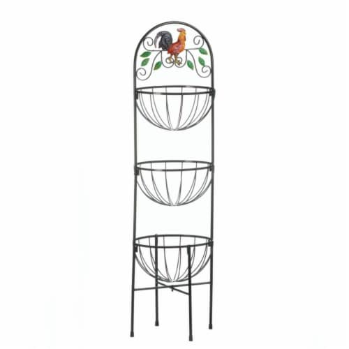 ROOSTER 3-TIER KITCHEN BASKET Perspective: front