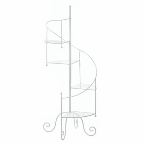 Summerfield Terrace 10017947 17 x 16.5 x 39 in. Spiral Showcase Plant Stand, White Perspective: front