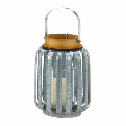 Gallery of Light 10018514 Large Galvanized Metal Lantern, Iron & Glass - MDF Wood Perspective: front