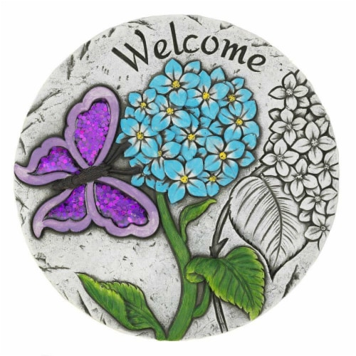Summerfield Terrace 10018542 Welcome Butterfly Garden Stepping Stone, Cement Perspective: front