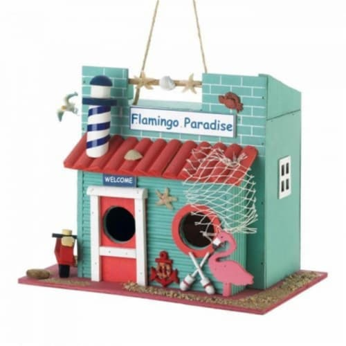 Songbird Valley Flamingo Paradise Birdhouse Perspective: front