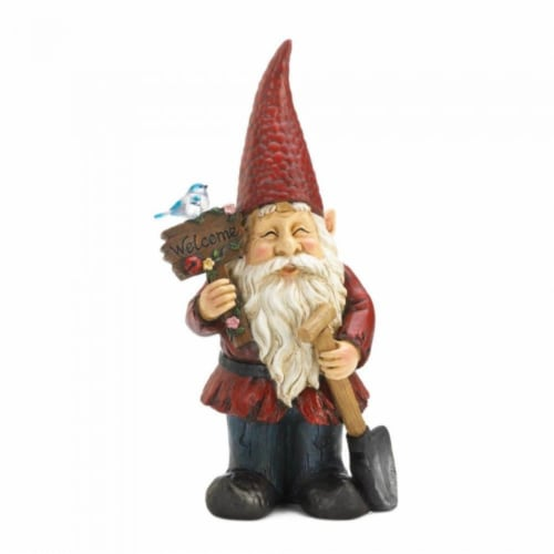 Garden Gnome with Welcome Sign Light-Up Solar Garden Decor Perspective: front