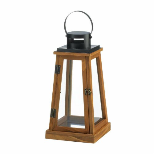 Gallery of Light 10018825 Wooden Pyramid Candle Lantern Perspective: front
