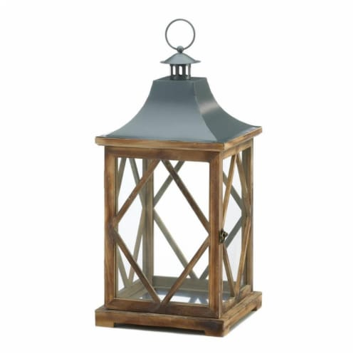 Gallery of Light 10018826 Wooden Diamond Lattice Lantern - Large Perspective: front