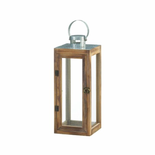 Gallery of Light 10018831 Metal Top Square Wood Lantern Perspective: front
