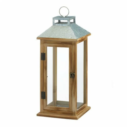 Gallery of Light 10018832 Metal & Wood Galvanized Lantern Perspective: front
