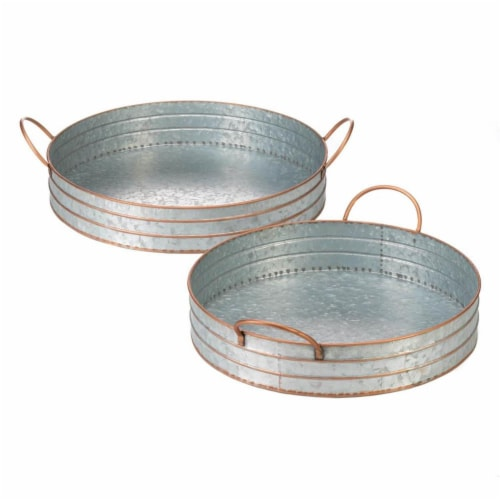 Accent Plus 10018835 Metal Round Galvanized Trays Perspective: front