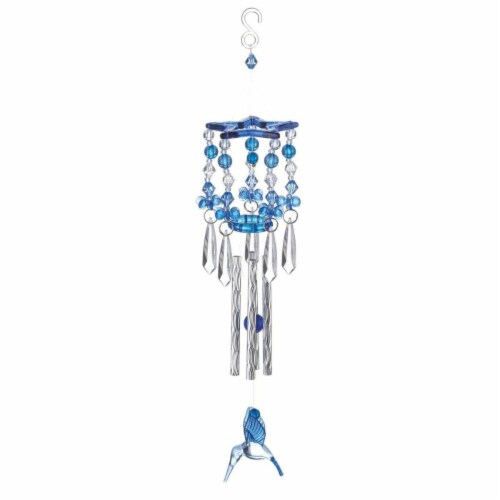 Summerfield Terrace 10018837 Hummingbird Wind Chimes, Blue Perspective: front