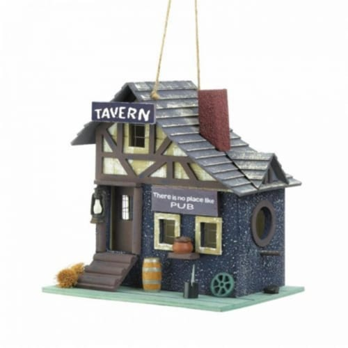 Songbird Valley Old-Fashioned Tavern Bird House, Blue Perspective: front