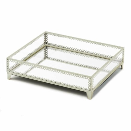Accent Plus 10019028 Silver Trim Glass Tray Perspective: front